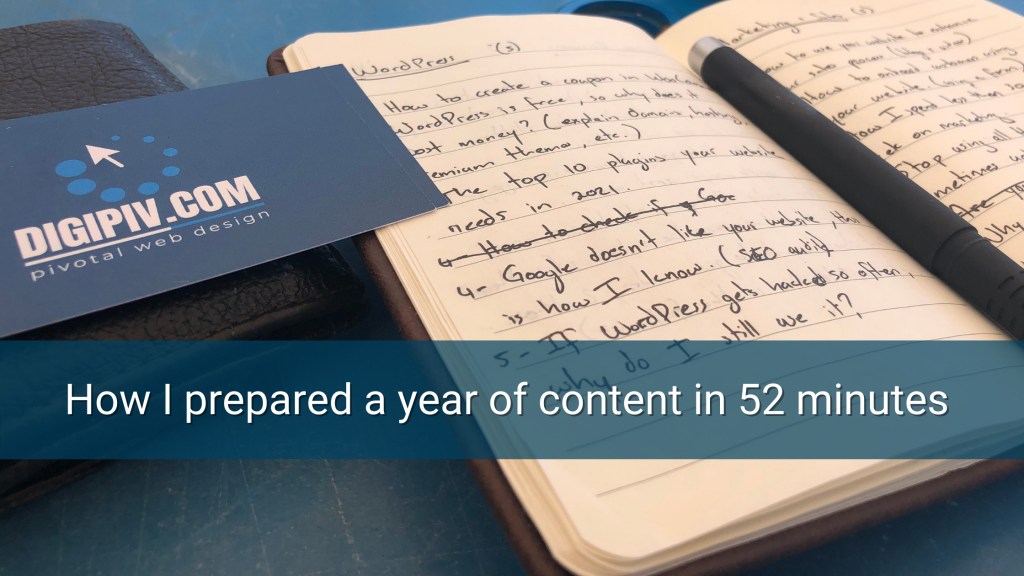 A notebook with content ideas written by Daniel dos Reis from DIGIPIV.com